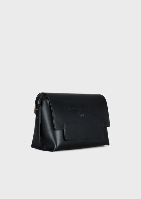Cross-body bag in leather with tone-on-tone embossed logo