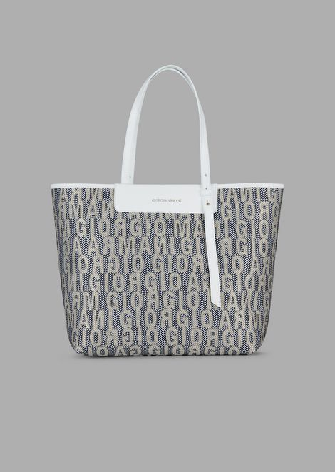 Fabric shopping bag with brand lettering