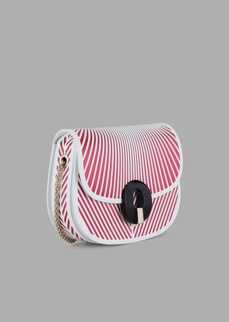 Leather cross-body bag with satin chevron design