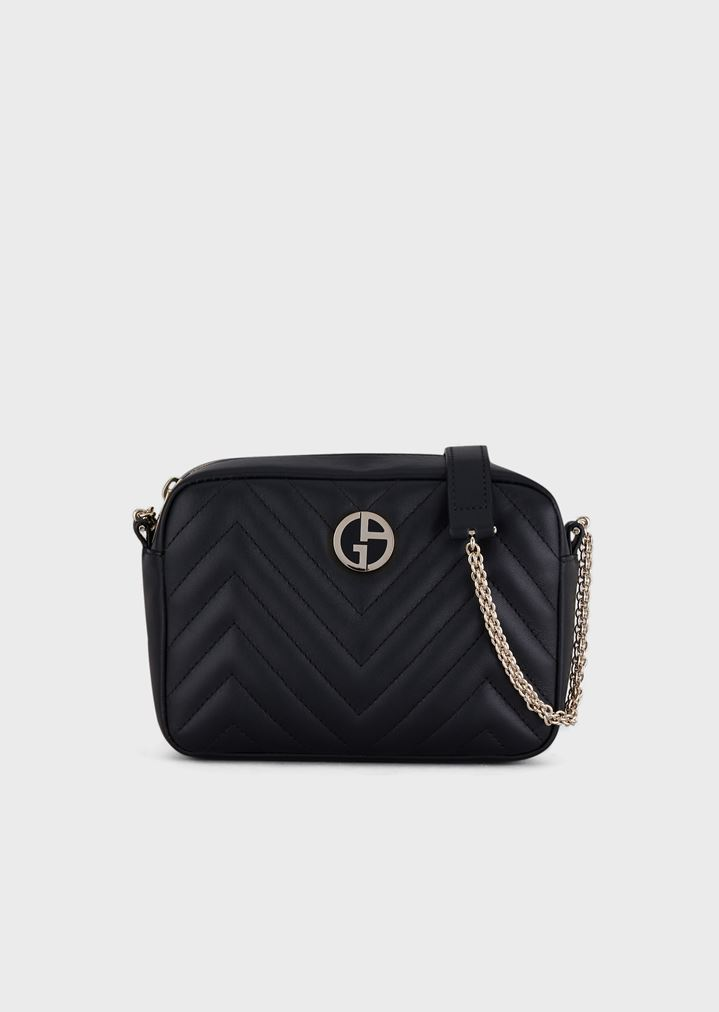 241ed9c6a63ef Nappa leather cross-body bag with enameled logo | Woman | Giorgio Armani