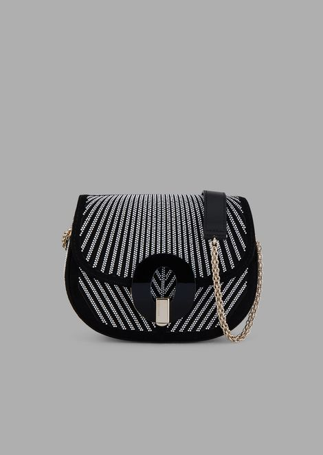 Satin and suede cross-body bag with beaded chevron design