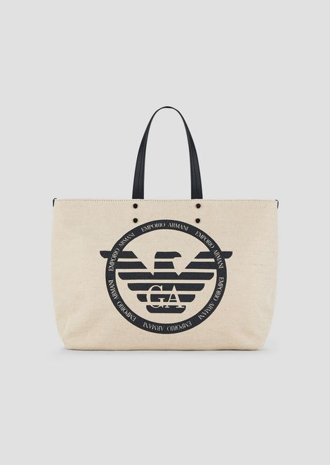 54fa74a226 Shopping bag in canvas with maxi logo and internal clutch