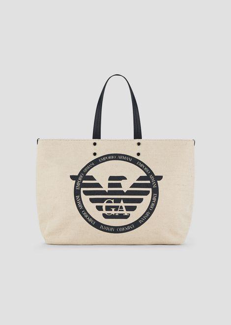 ショッパーバッグ キャンバス製 マキシロゴ&内ポシェット