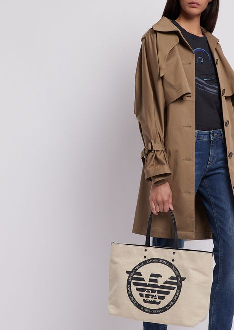 Shopper bag in canvas with maxi logo and internal pochette