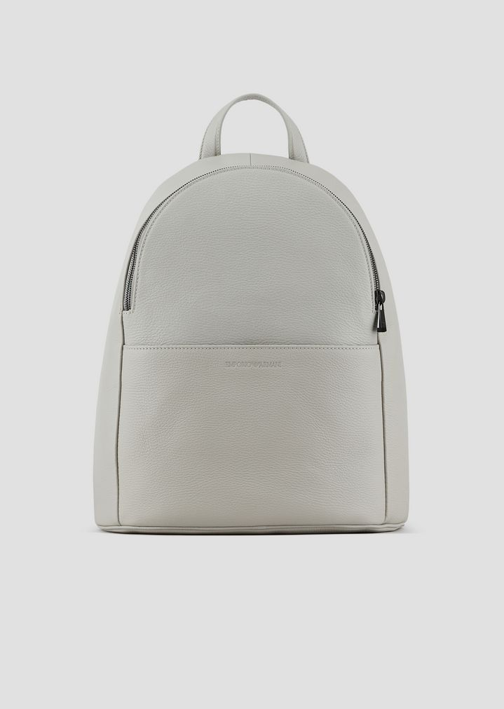 Backpack in grainy leather with pressed logo on the front  abdf809e00c92