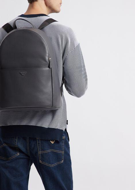 Рюкзак из принтованной шагренированной кожи с лямками с логотипом