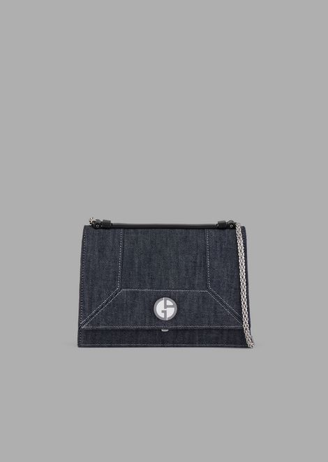 Denim cross-body bag with logo detail