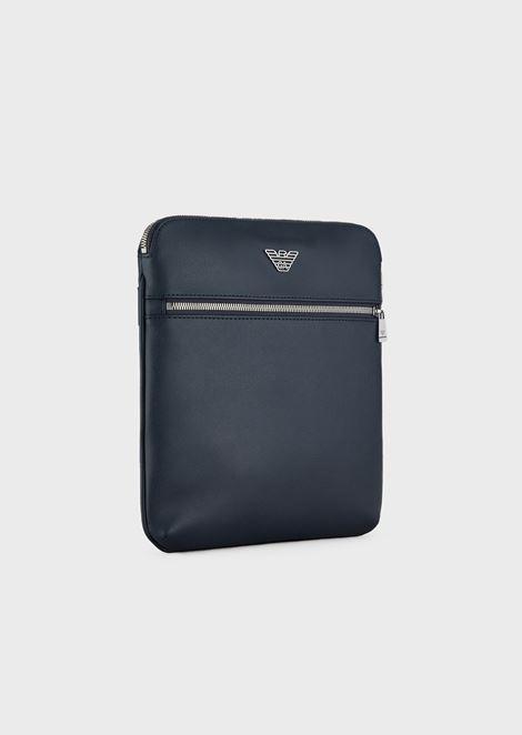Flat shoulder bag with logo plate
