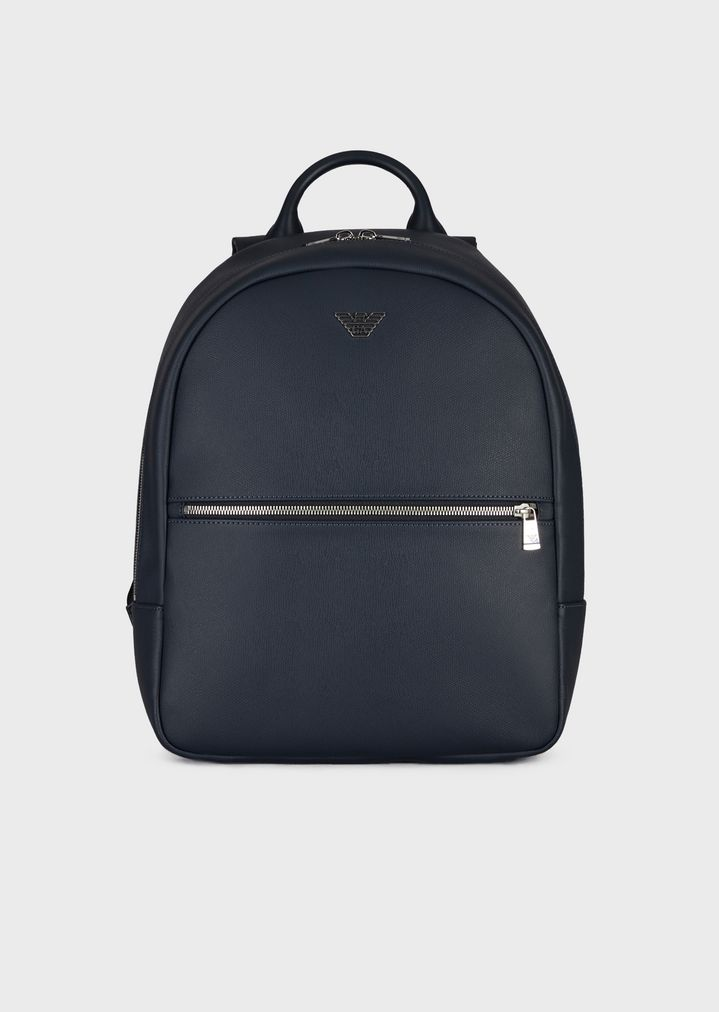 a6a1dd9ba121 Backpack in faux leather with front pocket and logo