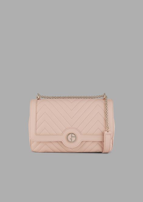 Nappa leather cross-body bag with enameled logo