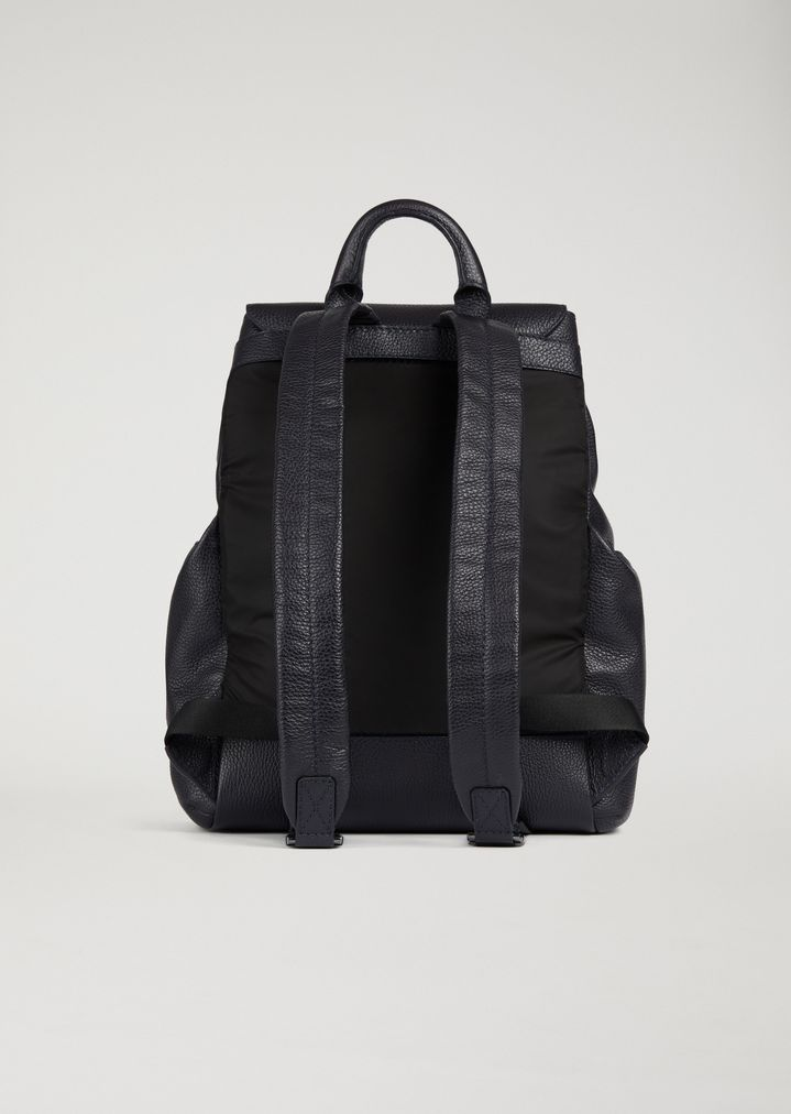 ... Full-grained leather backpack with side pockets. EMPORIO ARMANI 5ae1dcd602e7f