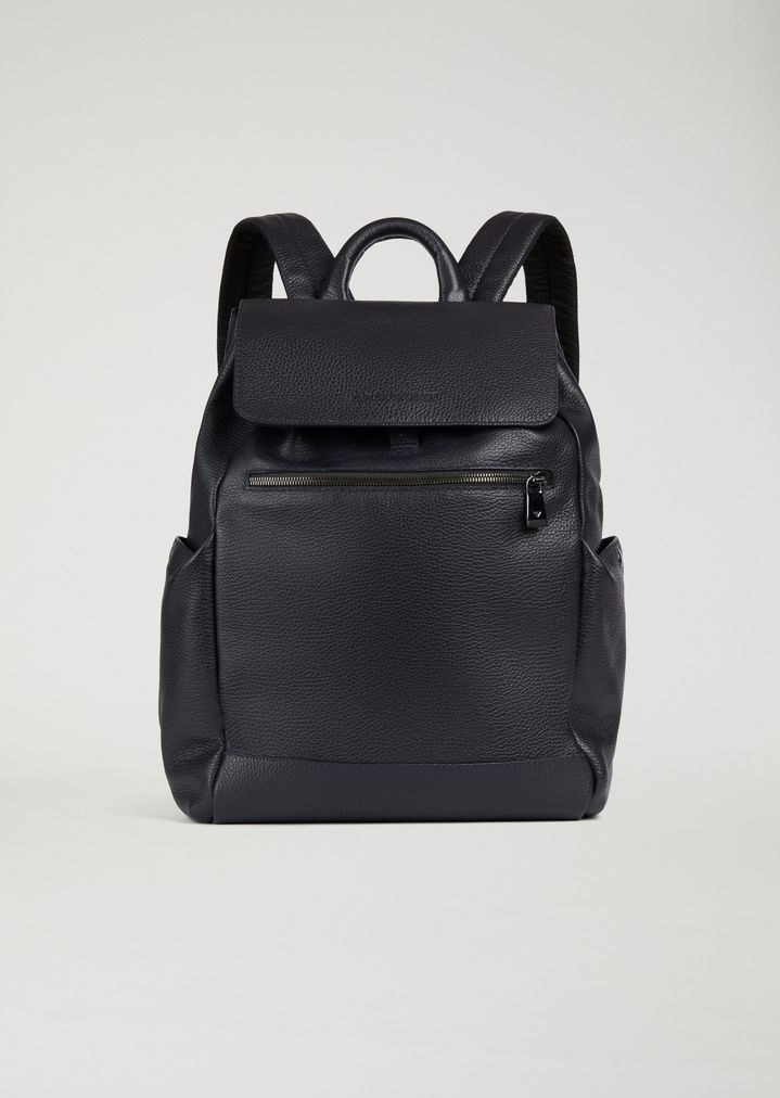 Full-grained leather backpack with side pockets  8807deb42dc11