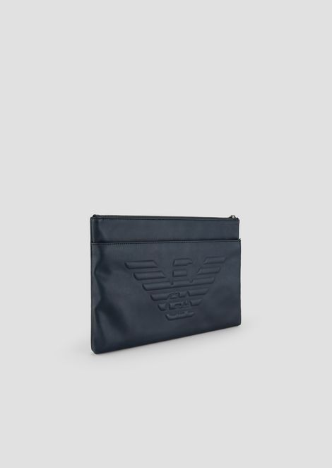 Clutch with raised logo