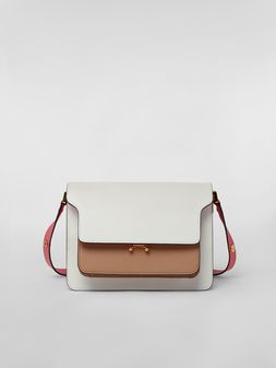 Marni TRUNK bag in saffiano calfskin white beige pink Woman