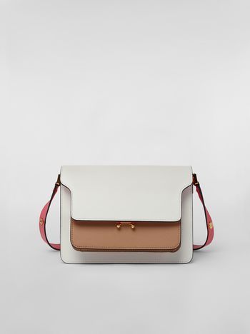 Marni TRUNK bag in saffiano calfskin white beige pink Woman f