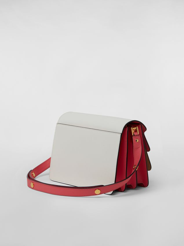 Marni TRUNK bag in saffiano calfskin in white, beige and pink Woman