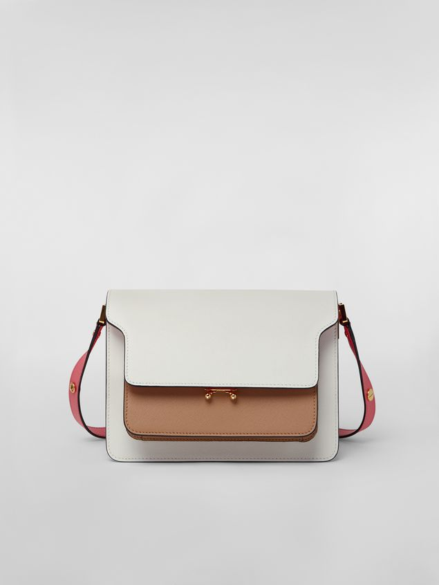 Marni TRUNK bag in saffiano calfskin in white, beige and pink Woman - 1