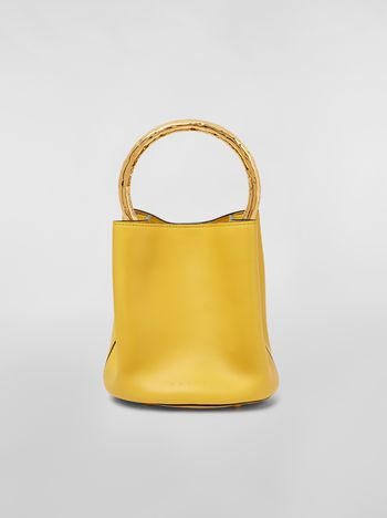 Marni PANNIER bag in leather with gold-tone metal handle Woman