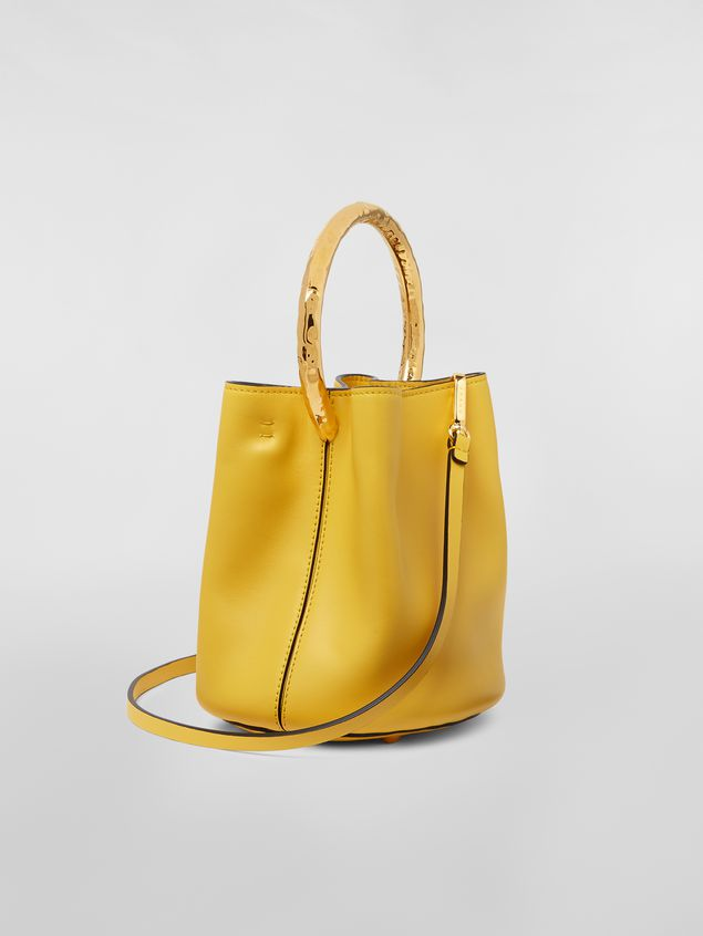 Marni PANNIER bag in leather with gold-tone metal handle Woman - 3