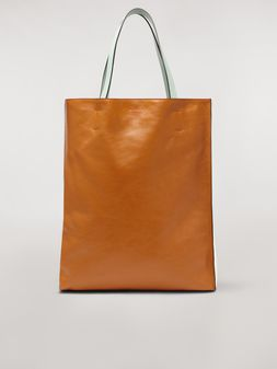 Marni Large MUSEO SOFT bag in shiny leather brown and beige Woman