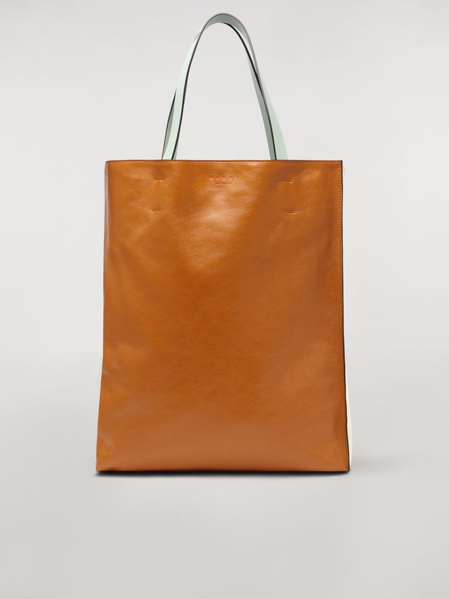 Marni Large MUSEO SOFT bag in shiny leather brown and beige Woman - 1