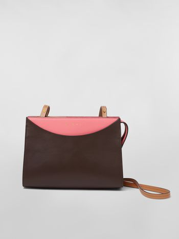 Marni LAW bag in leather pink and brown Woman