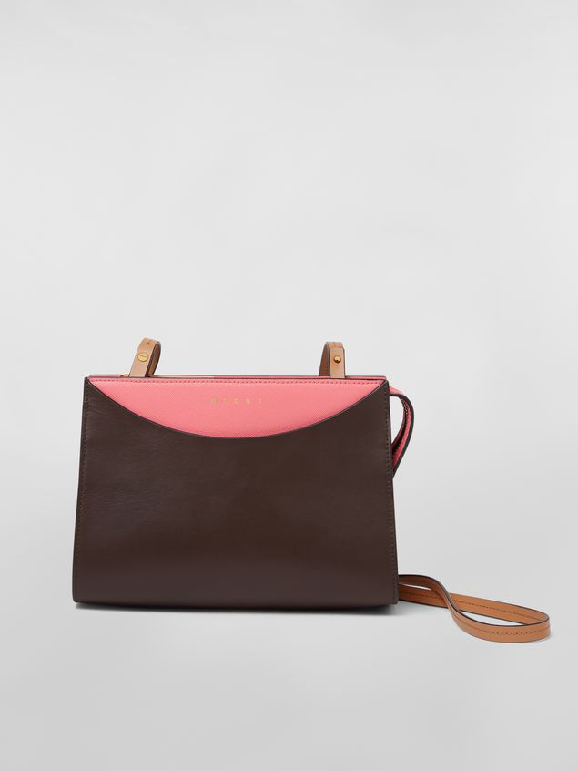 Marni LAW bag in leather pink and brown Woman - 1