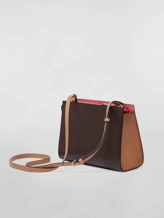 Marni LAW bag in leather pink and brown Woman - 3