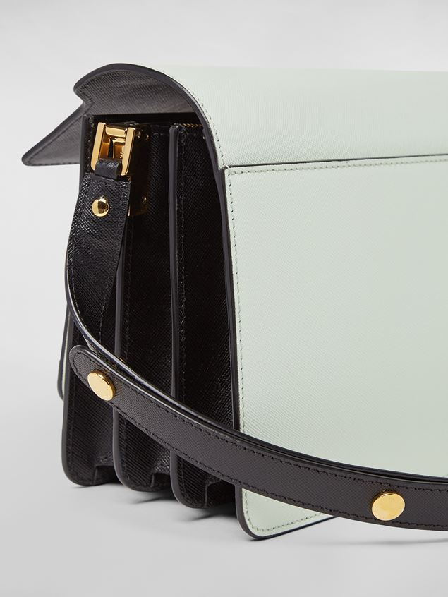 Marni TRUNK bag in saffiano calfskin in green, white and black Woman - 5