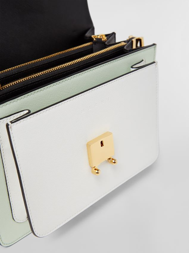 Marni TRUNK bag in saffiano calfskin in green, white and black Woman - 2