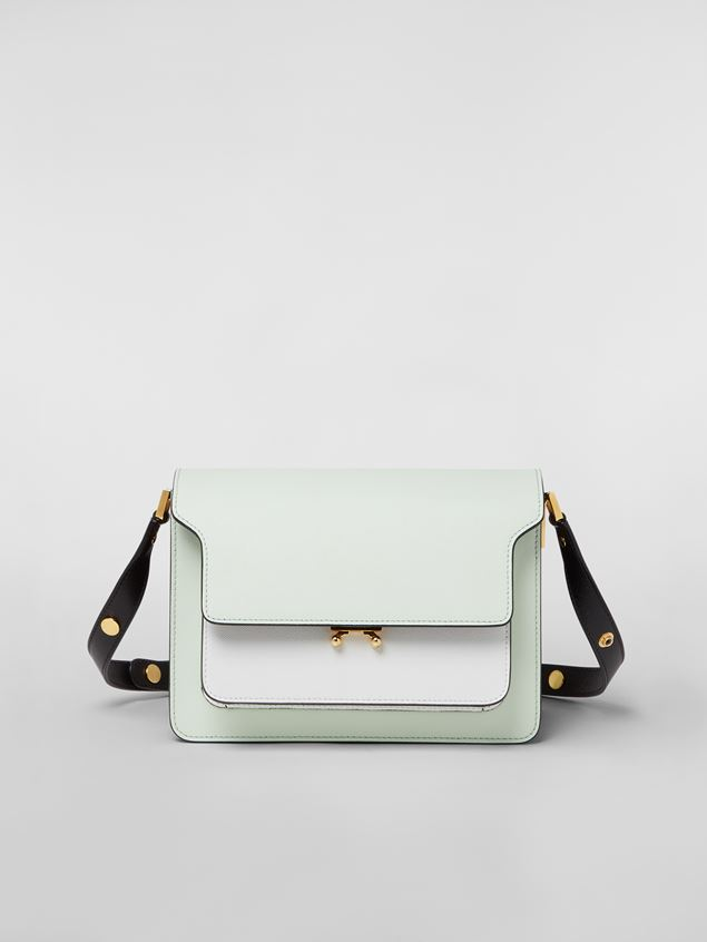 Marni TRUNK bag in saffiano calfskin in green, white and black Woman - 1