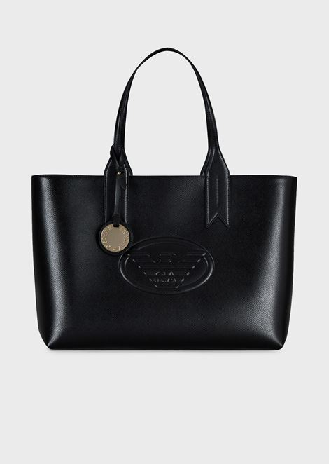 Metallic shopper with charm and logo
