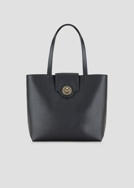 PVC shopper with snap buckle clasp
