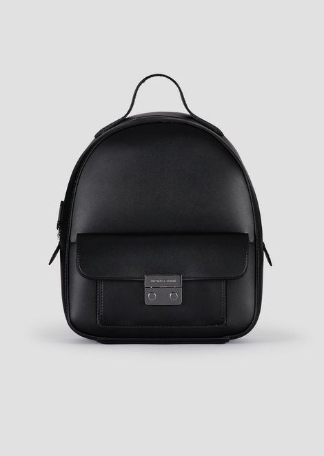 Backpack in faux vacchetta leather with iconic metal clasp