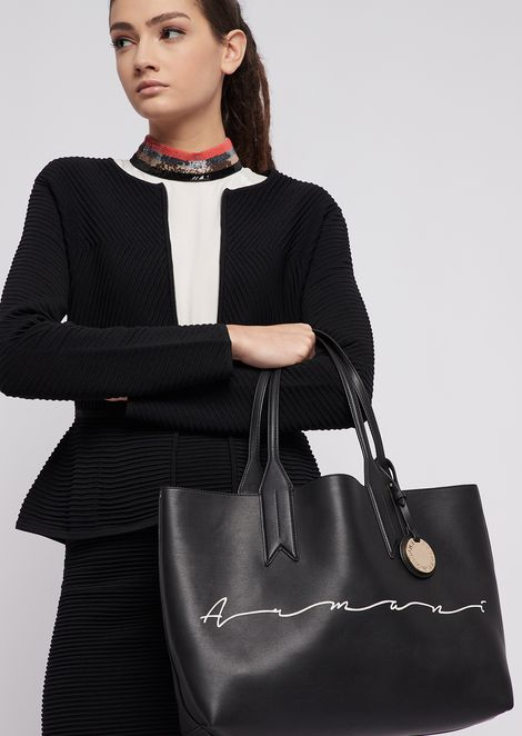 Shopping bag with Emporio print and internal clutch