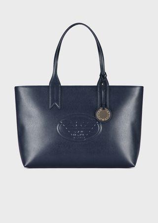 5e512c7f1e Metallic shopping bag with charm and logo
