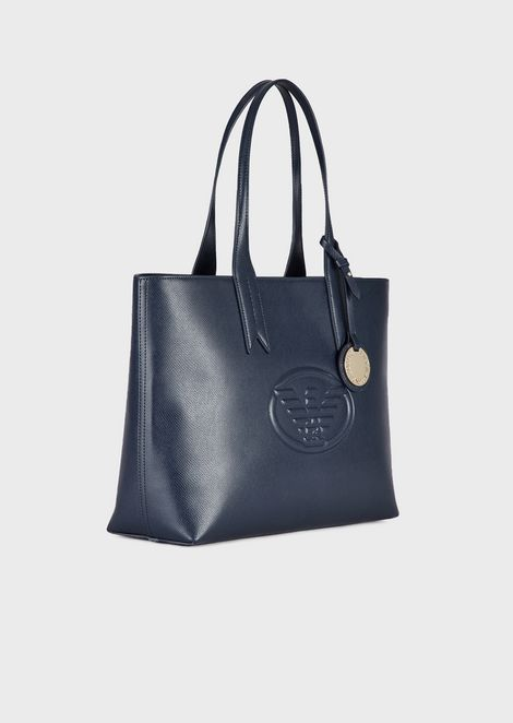 Metallic shopping bag with charm and logo