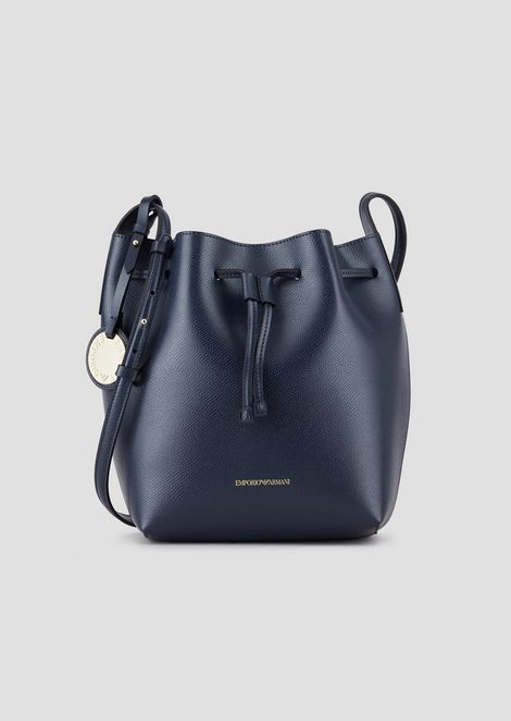 Faux Leather Bucket Bag With Strap
