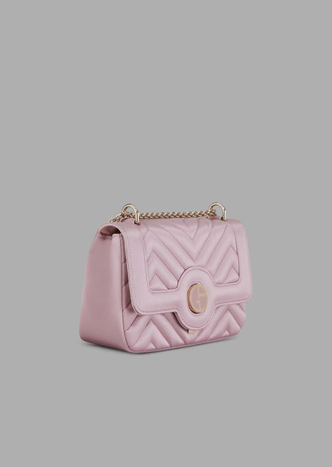 Mini bag in quilted satin with enameled logo