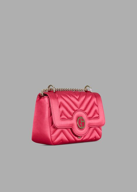 Mini bag in quilted satin with enamelled logo