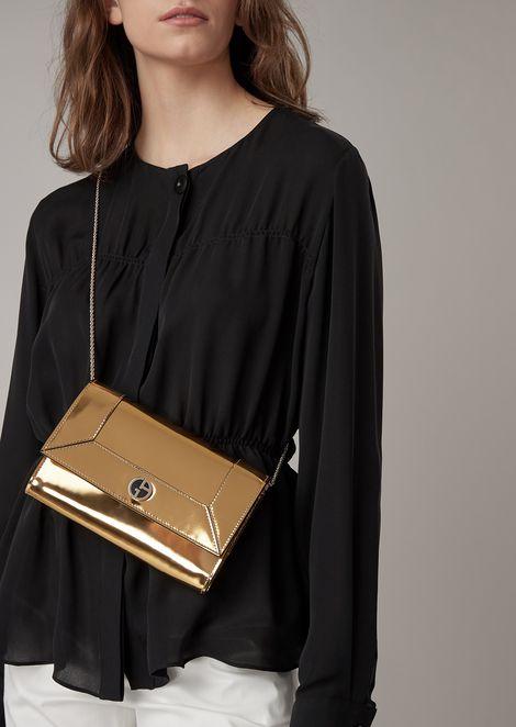 Mini cross-body bag in mirror-effect leather
