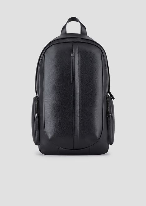 6cbdcd02ea36f Backpack in tumbled leather with central zip
