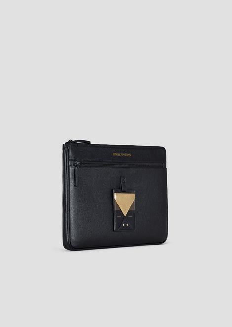 Tumbled leather document holder