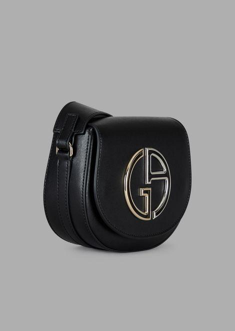 Mini cross-body bag in leather with GA logo
