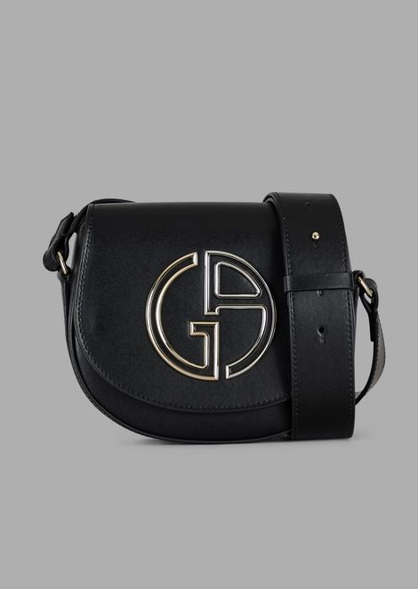 Mini cross-body bag in leather with GA logo