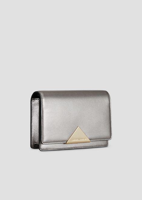 Mini-sac à bandoulière en cuir de vachette avec fermeture triangulaire