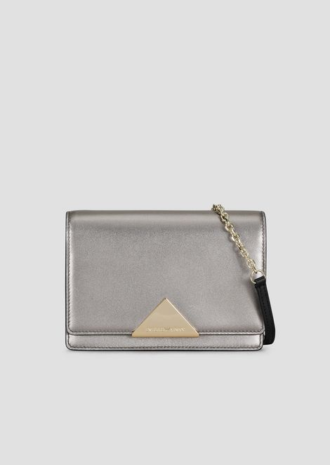 Mini cross-body bag in cowhide leather and triangular closure