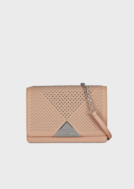 Mini cross-body bag in vacchetta leather with studs