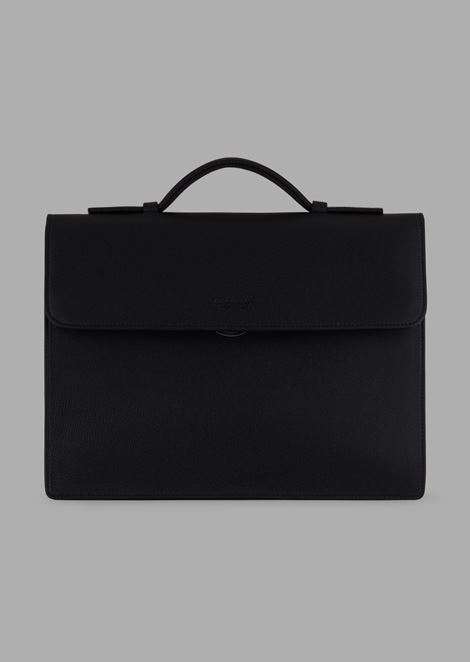 Satchel in grained leather with detachable strap