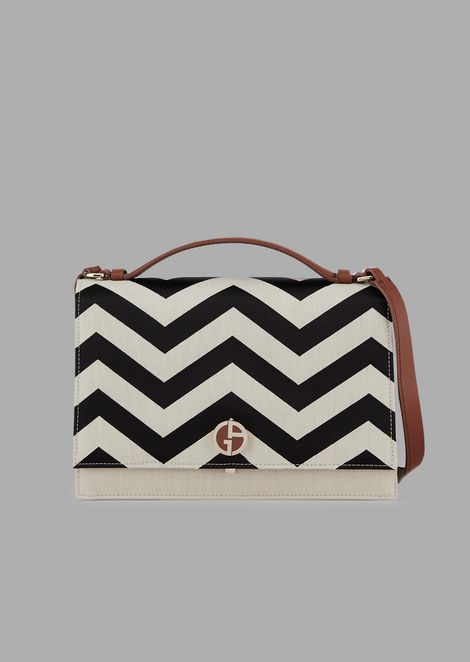 Linen shoulder bag with chevron decoration in contrasting satin
